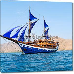 старинный деревянный корабль с синий паруса