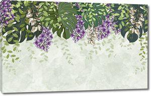 Легкий мраморный фон, цветы глицинии с зелеными тропическими листьями