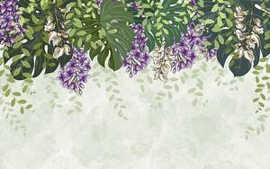 Мраморный фон, цветы глицинии с зелеными тропическими листьями