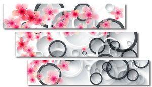Кольца, много маленьких и больших розовых цветов