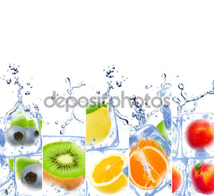 Радужный лед с фруктами