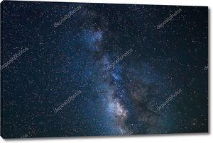Ночное небо, яркие звезды и галактики Млечный путь