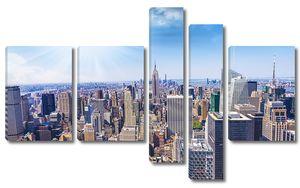 прекрасный вид на панораму города Нью-Йорка