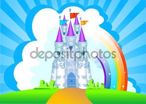 Волшебный замок с радугой