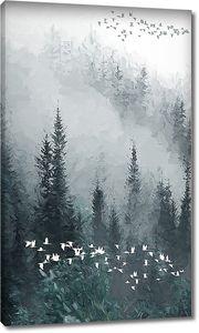 Птичьи стаи в туманном лесу