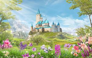 Замок с синими крышами