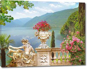 Терраса со скульптурами и цветами