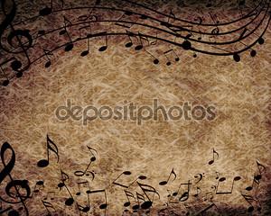 Музыкальные ноты на старой бумаге