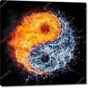 Символ Дао - Инь Ян концепт - огонь и вода