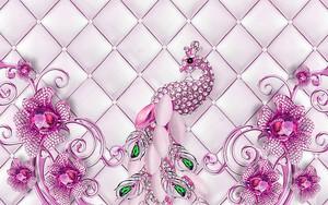 Фиолетовые декоративные цветы  и павлином с ярко-зелеными кристаллами
