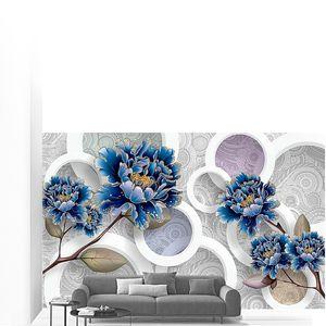 Синие цветы с кругами