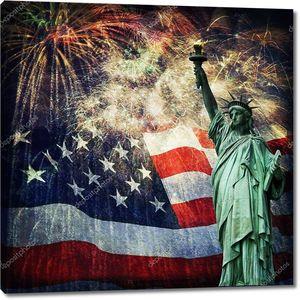 Статуя свободы & фейерверков