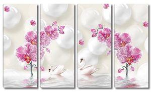 Розовые орхидеи, пара лебедей, отраженные в воде