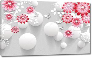 3d иллюстрация, серый текстурный фон, белые воздушные шары, красные абстрактные цветы, белые бабочки бумаги
