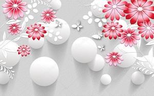 Белые воздушные шары, красные абстрактные цветы