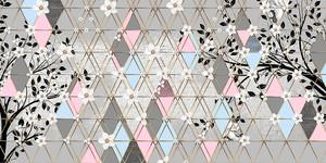 Triangle eden-Цветущие ветки на серых ромбах