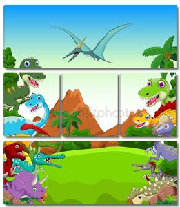 Мультфильм Динозавр фоне пейзаж