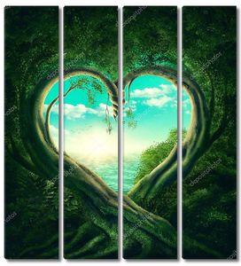 Деревья образуют сердце