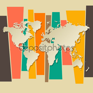 вектор Всемирная карта 3d ретро справочный документ