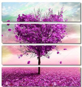 Дерево в форме сердца, фиолетовый цвет
