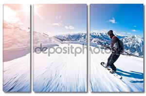 сноубордист, езда быстро, motion blur, рыбий глаз выстрел