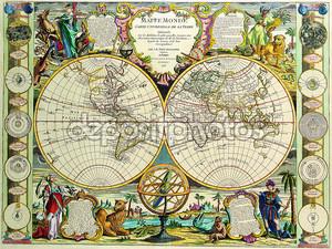Старая карта с полушариями