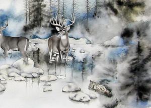 Олени на проталинах в лесу