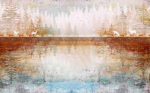 Лесное озеро с оленями