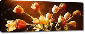 Яркая сушеные тюльпаны на темном фоне