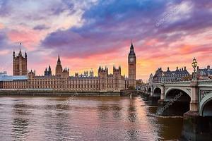 Биг-Бен и Вестминстерский мост на закате