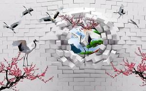 Сломанная кирпичная стена, закат в  разломе