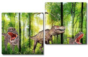 Динозавры в солнечном лесу