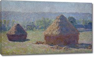 Моне Клод. Стога сена в конце лета, утро, 1891