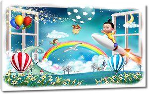 Малыш на ракете с радугой и шарами