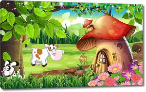 Домик-гриб на полянке