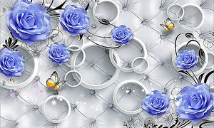Синие розы с бабочками на фоне обивки