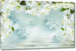 Цветочная рамка над водой