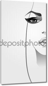 Красивая женщина лицо крупным планом с макияжем. Векторные иллюстрации