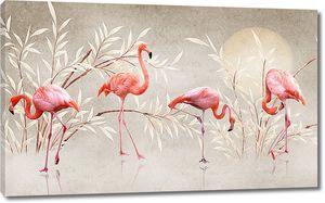 Фламинго в кустах