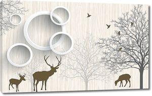 Силуэты оленей с кольцами