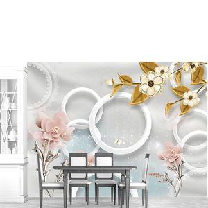 Белые кольца, цветы на металлических стеблях