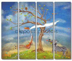 Иллюстрация показывает романтичные отношения между жирафом и