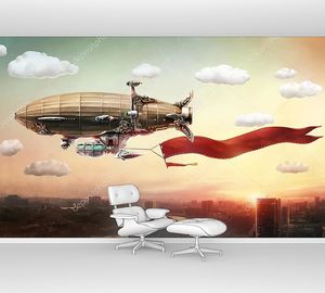 Дирижабль со знаменем над городом