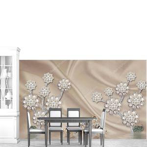 Шелковый фон, цветы со стразами, пара лебедей