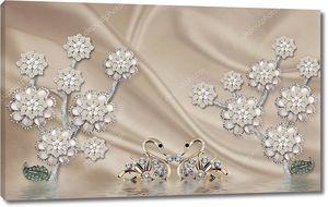 Шелковый фон, цветы со стразами, пара золотых лебедей
