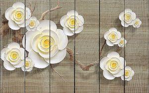 Цветы с круглыми лепестками на ветке