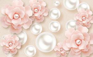Перламутровые шары с розовыми цветами