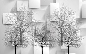 Черные и серые контуры деревьев без листьев