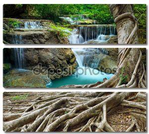 Banyan дерева и известняка водопадов в дремучем лесу чистоты используйте n