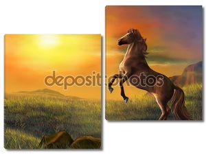 Поднимая лошадь